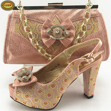 ME7711 New Fashion Summer Rhinestone Italian High Heel With Matching Bags Nice Looking African Women Shoes and Bags Set(China)