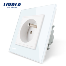 Livolo New Outlet,French Standard Wall Power Socket, VL-C7C1FR-11,White Crystal Glass Panel, AC 100~250V 16A(China)