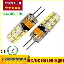 G4 LED 12V AC DC 3W 6W Dimmable LED Lamp G4 24/48leds 3014 SMD Bulb Lamp Ultra Bright Free Shipping  zk50