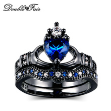 Double Fair Luxury Sweet Heart &Crown Black Gold Color Finger Ring Sets Fashion Brand Punk Style Party Jewelry For Women RX15DD