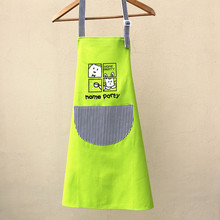 2017 Free Shipping Cartoon Cat Pattern Korean Style Canvas Apron Kitchen Apron Home Cleaning Cooking Apron Kitchen Apron Cotton