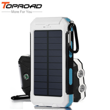 Waterproof Solar Power Bank 10000mah Dual USB LED External Battery Solar Charger Backup Powebank For Smartphones PC Camping SOS