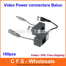BNC CCTV RJ45 Video + Power Balun by UTP CAT5 Transmit Receiver Connector 100pcs /Lot (50 packs) Fedex / DHL Free Shipping(China)