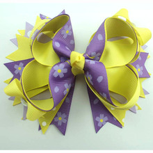 5 Inch purple print and yellow design boutique Hair bows for little girls with hair clip(China)