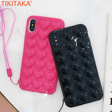 Love Heart Mobile Covers For iPhone X With Lanyard Black Pink TPU Carcasas Coque Cute 3D Sweet Fashion Phone Case for iPhone X(China)