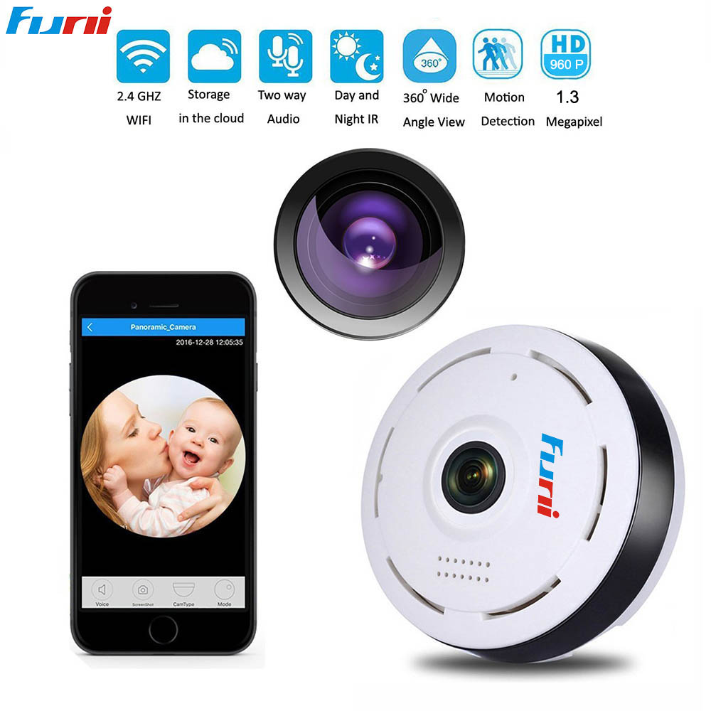 Funi V3604 HD 960P IP Camera SD Small Wi-Fi 360 Degree Network Home Security Camera Panoramic IR Surveillance Camera <br>