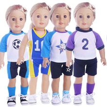 18 Inch American Girl Doll Clothes Outdoor Sports Fashionable Football Soccer Uniform Children DIY Dressed Toys Christmas Gifts(China)