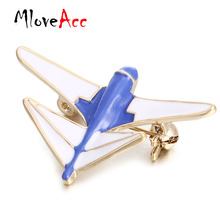 MloveAcc Blue Enamel Airplane Brooches Women Kids Gold Color Fighter Model Broches Pins Scarf Badge Collar Tips Decoration(China)
