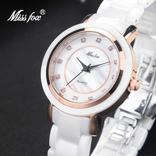 Miss Fox White Ceramic Watch Fashion Brand Rose Gold Watch Women Ceramic Gift Steel Butterfly Clasp Super Cool Summer Watches