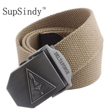 SupSindy 2017 new arrival men's canvas belt DELTA FORCE buckle military belt Army tactical belts for Male top quality men strap(China)