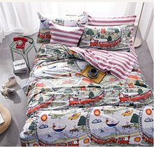 FADFAY Home Textile Hight Quality 100 Cotton Kids Boys Train Bed Bedding Set Cartoon Comforter Duvet Cover Full Size
