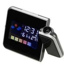 Electronic Digital LCD Desk Alarm Clock Timer Projection Projector Thermometer Moisture Meter Weather Station Snooze Calendar