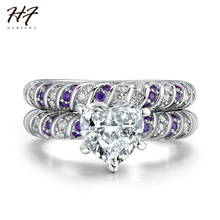 New Fashion Sliver Color 2 Pieces Ring Sets AAA+ Love Heart Cubic Zirconia Wedding Rings For Women Wholesale DD027