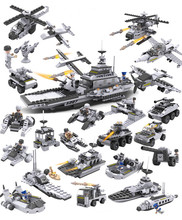 DIY 8 in 1 Super cool Aircraft carrier Building blocks 743pcs 25 kinds of model Tank/Ships/sub/fighter/helicopter toys kids gift(China)