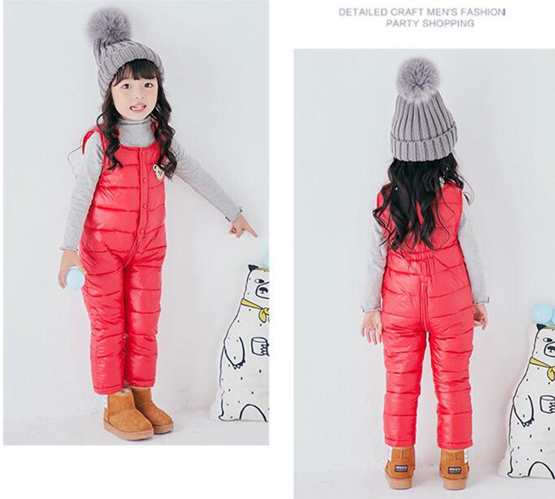 COOTELILI Cotton Winter Overalls Padded Outdoor Romper Pants High Quality Baby Girls Boys Jumpsuit Kids Clothes  90-110cm  (3)