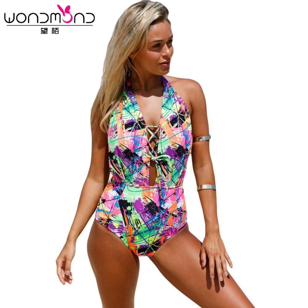 High Waist Swimwear Women One Piece Swimsuit  Strappy Crisscross Monokini Floral Print Bodysuit Biquini Maillot De Bain Femme<br>