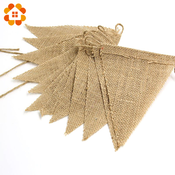 2015 New 3m Vintage Jute Hessian Burlap Bunting Banner Wedding party Photography Props Decoration Banner 13 Flags