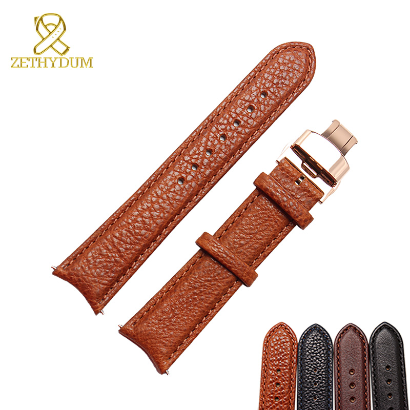 arc interface Genuine leather bracelet 20mm senior watch strap watchband curved interface wristwatches band Butterfly buckle <br>