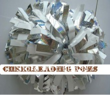 "cheerleading Pom poms 3/4""x 6""~custom color metallic white  and holographic handmade new hot sale custom made"