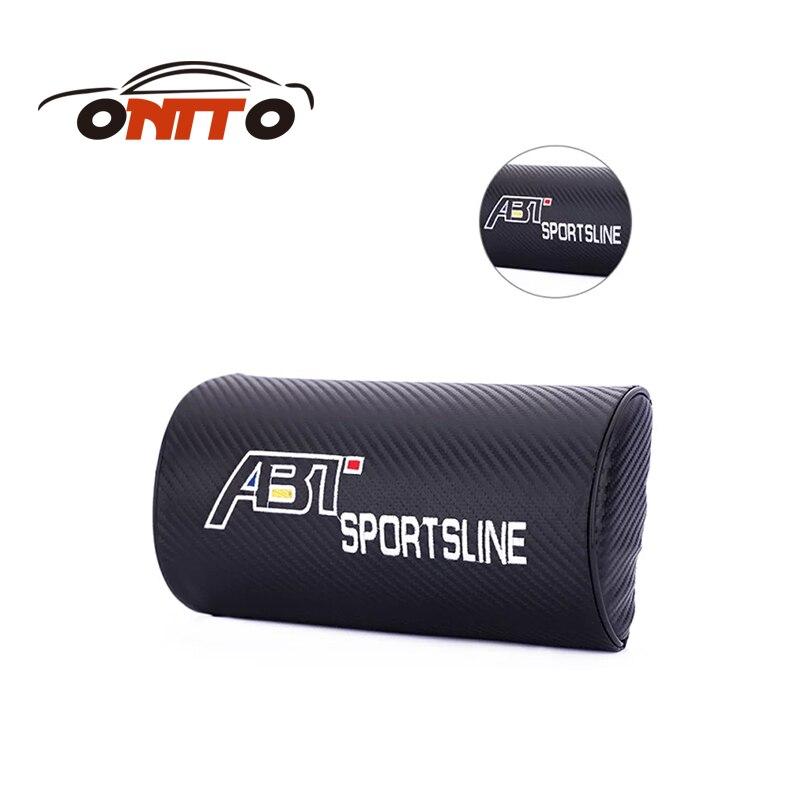 Good quality leather car rest protection neck pillow headrest sleep for abt logo for passat b6