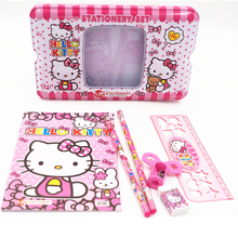 1 set children hello kitty school Pencil Case for girls boys cute cartoon high quality metal school supplies stationery set kids(China)