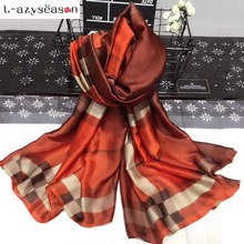 L-azyseason Fashion Silk Scarf Luxury Women Brand bandana Scarves for Women Shawl High Quality Print hijab wrap 70.87X35.43 INCH(China)
