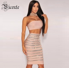 Free Shipping 2017 New Fashion Luxe Beads Hollow Stripe Two Pieces Set Bandage Set Women Celebrity Party Bandage Dress(China)