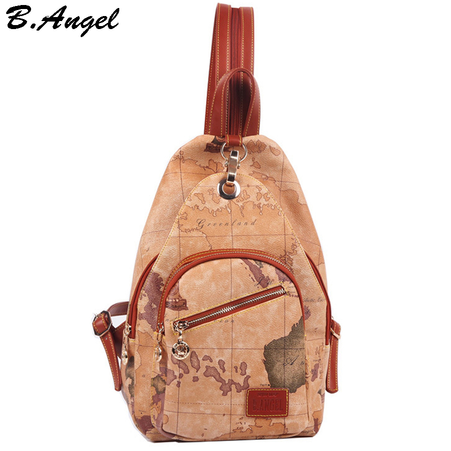2016 fashion vintage high quality world map backpack women backpack leather backpack printing backpack<br>