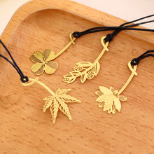 4 Pcs/Set mini Cute Kawaii Gold Metal Bookmark, School & Office Book marks Exquisite Bookmarks Clover, Mimosa lotus maple, leaf