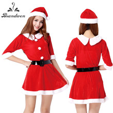 19 Choices Christmas Cosplay Costumes Women Sexy Female Pure Red Corduroy Halloween Uniform Role Playing for Adult Santa Clause(China)