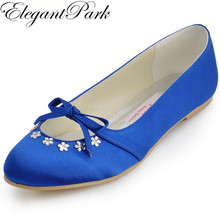 Woman flats Royal Blue Red woman Shoes EP2030 Round Toe Bow Rhinestone Ballet Flats Satin Wedding Bridal Shoes