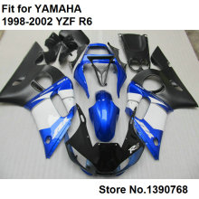 7 free gifts bodywork fairing kit for Yamaha YZF R6 98 99 00 01 02 blue white black motorcycle fairings set R6 1998-2002 FB-72