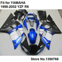 7 free gifts bodywork fairing kit for Yamaha YZF R6 98 99 00 01 02 blue white black motorcycle fairings set R6 1998-2002 FB-72(China)