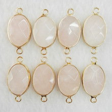 12pcs Natural pink Powder stone Necklace Charms Pendant Druzy Quartz Crystal for Bracelet Necklace Connector DIY Jewelry Making