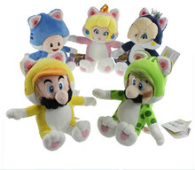5pcs/set 18-20cm Super Mario New 3D World Cat Series Mario Luigi Toad Princess Peach Rosalina Stuffed Plush Toy With Tag(China)