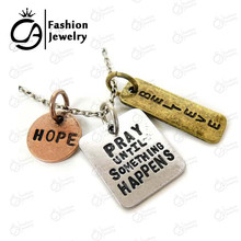 "Antique Silver Plated ""Pray until something happens,Hope,Believe"" Inspirational Word Necklace #LN1090(China)"