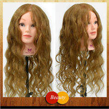 "24"" Long Brown 100% Real Animal Hair Hairdressing Training Head Cut Practice Head Manikin Head Hair Styling Salon Model(China)"