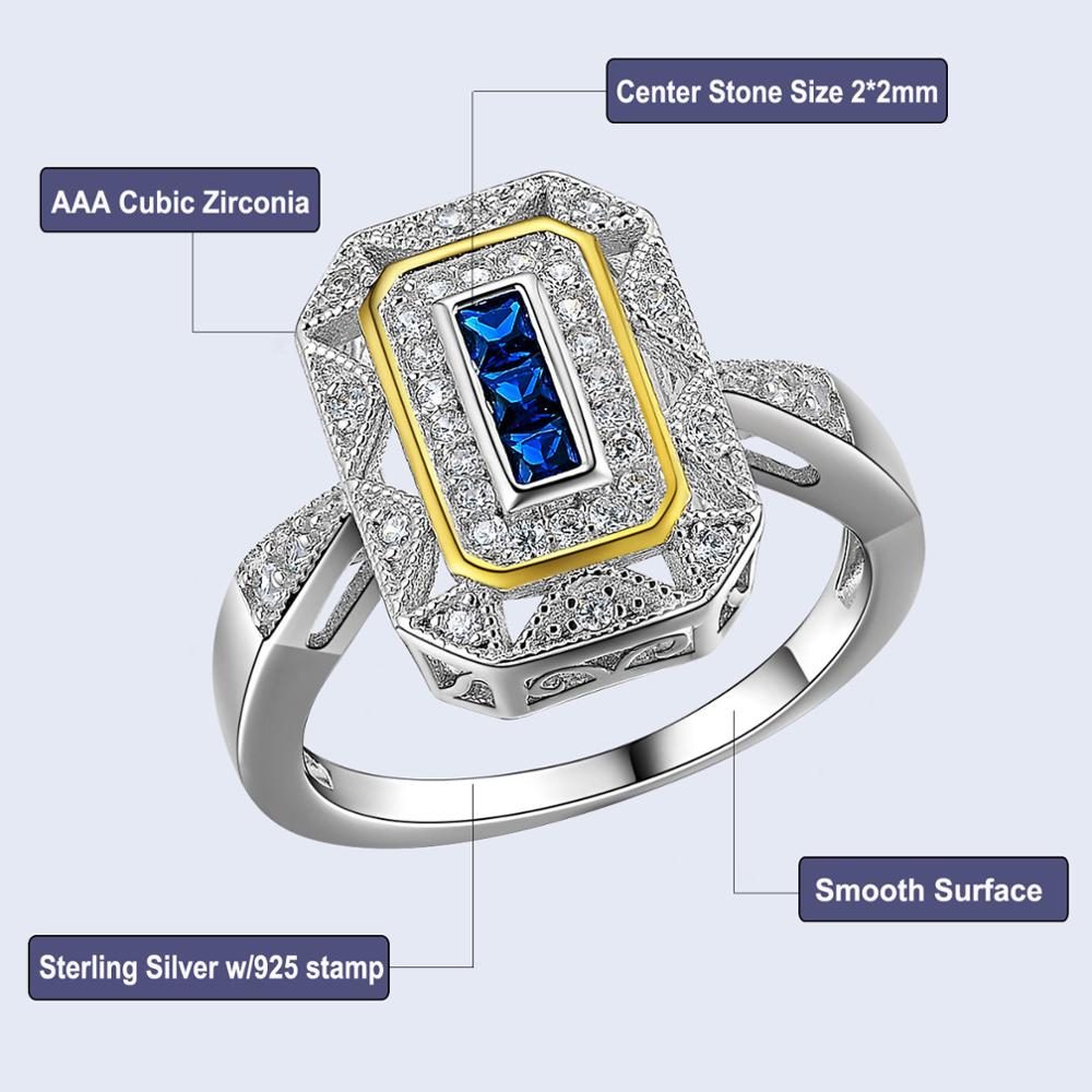 FREE Gold Color Plated Blue Zirconia Cocktail Ring For Women 2
