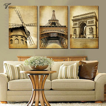 Home Decor Paintings 3 Panel Classic Paris Oil Painting On Canvas Pictures Large Landmark Building Vintage Wall Art (No Frames)(China)