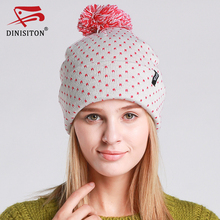 DINISITON Pink Spots With Caps Raccoon Fur Pompon Hat For Women Winter Warm Knitting Hats Female Beanies High Quality Cap MT08(China)
