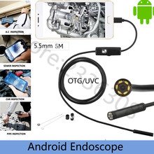 USB Endoscope Hd 480p Coms 5m 5.5MM Len Waterproof 6 Led Borescope Inspection Tube Visual Camera with OTG Adapter for Smartphone(China)