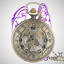 Gemini Zodiac Stylish Necklaces Quartz Pocket Watches Constellations Vintage Pendants Jewelry Men Women Children Birthday Gifts