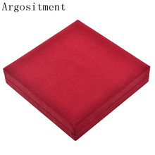 Argositment High Quality  Red Jewelry Box, Velvet Square Shape Box Jewelry Carrying Case Display Box
