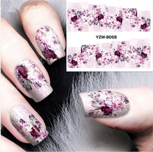 hot nail art Decoration 2 sheets/patterns Red Bloomy Floral Flower Nail Art Water Decals Transfer Stickers Nail Sticker Manicure