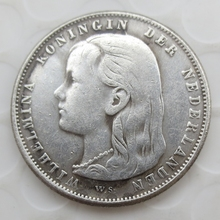 NETHERLANDS WILHELMINA I 1892 1 GULDEN COIN, GRADES XF+ 90silver coins retail /whole sale free shipping(China)