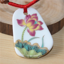 Vintage Necklaces pendants crochet rope necklace ceramic chokers necklace for women pastels golden lotus necklace Jewelry gift