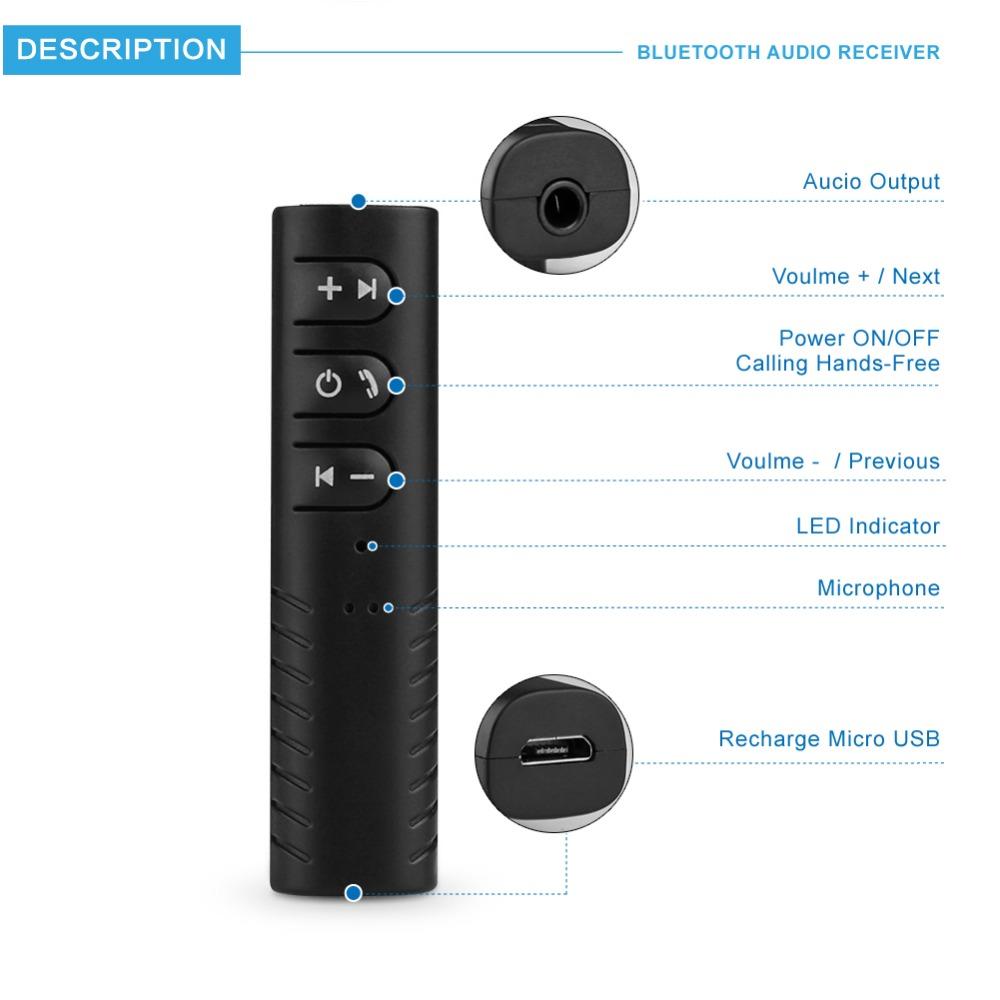 Bluetooth Earphone HandsFree Wireless Bluetooth Receiver Adapter 3.5mm Jack Car Aux Audio Music for Phones Speakers Headphones (7)