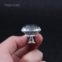 Top Brand Quality 1pack/10 Pcs 30mm Diamond Shape Crystal Glass Drawer Cabinet Knob Pull Handle Kitchen Door Wardrobe Hardware(China)