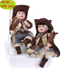 "Unique NPK 22"" Reborn Toddler Dolls Realistic Baby Girls In Cowboy Style Clothes Hot Birthday Gift For Girl Brinquedo Kids Toys(China)"