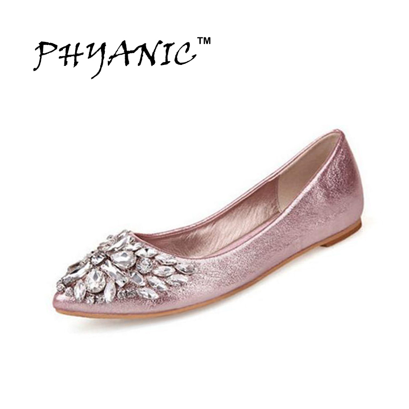 PHYANIC New 2017 Spring New Women Silver Gold Rhinestone Cap Toe Embellishment Flat Metallic Shoes Woman Flats Wholesale<br><br>Aliexpress